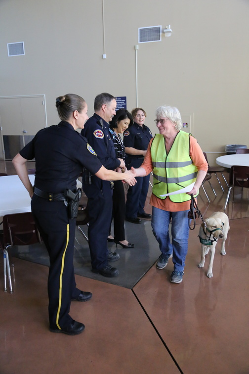 Captain Katie Krauss congratulates Los Altos resident Carol Johnson on her CERT graduation.  Carol took CERT training with three of her neighbors from Block Action Team 35 on Brookmill Road.