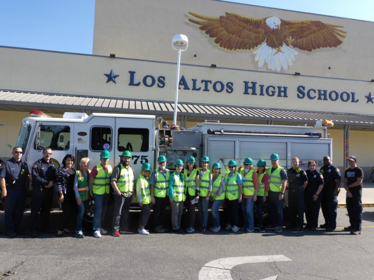 Mayor Lynette Lee Eng, Engine 75 crew, and Santa Clara County Fire Department staff pose with the new CERT graduates.
